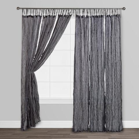 Gray Crinkle Voile Cotton Curtain World Market