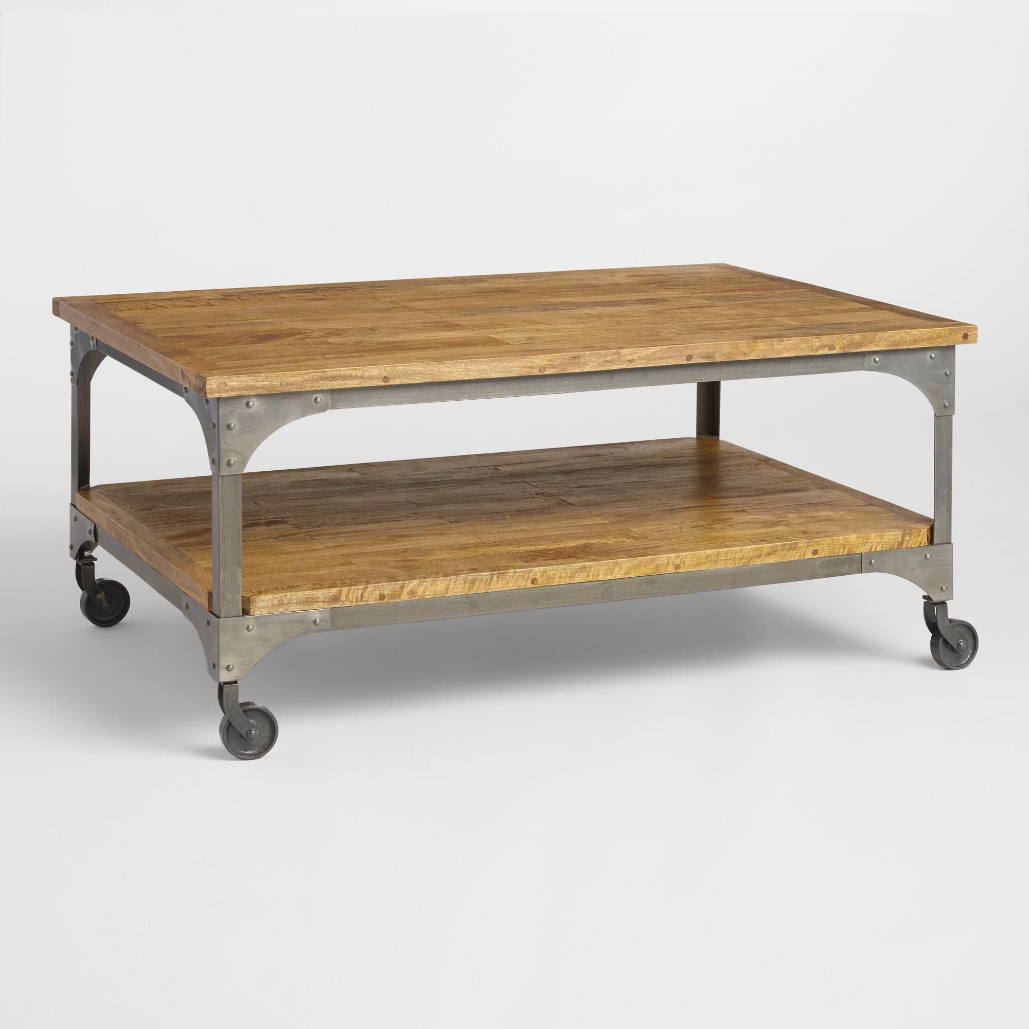 Mill Cart Coffee Table Wood And Metal Aiden Coffee Table World Market