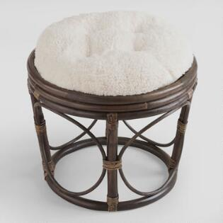 ivory faux fur papasan stool cushion