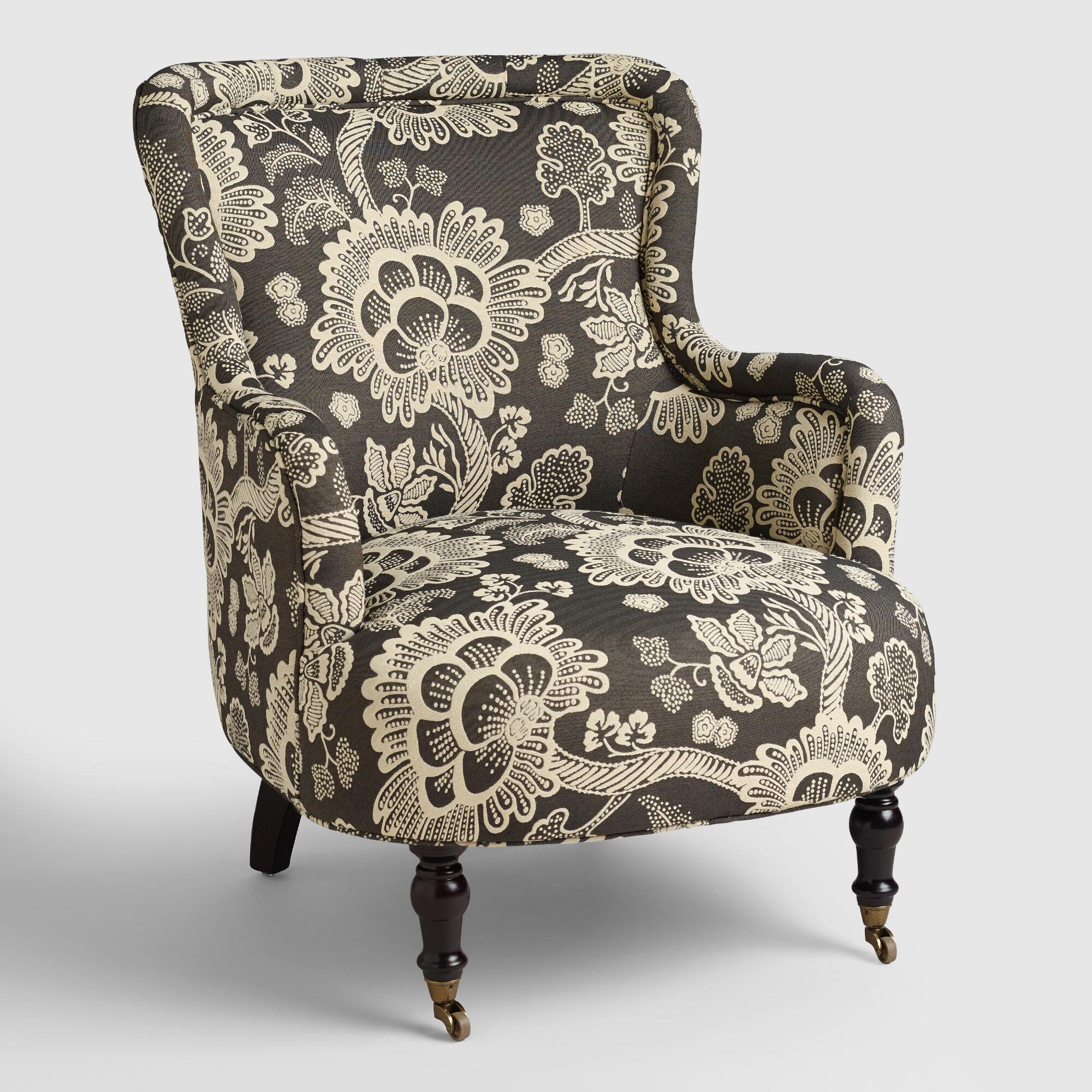 Black chair and white chair - Black And White Floral Reading Chair