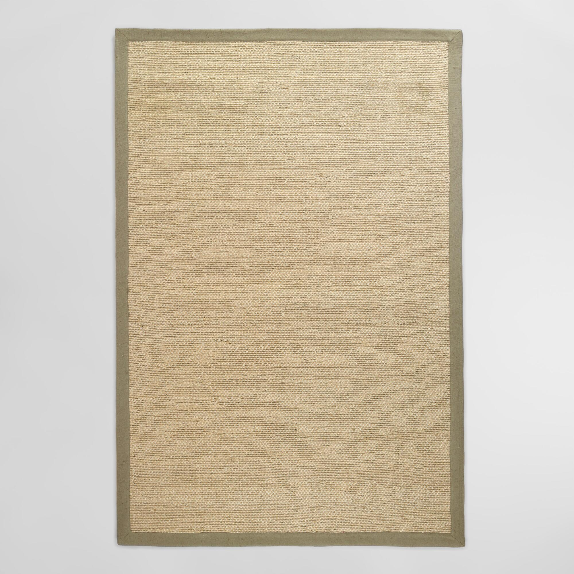Gray Bordered Chunky Woven Jute Rug: Gray/Natural - 6' x 9' by World Market 6Ftx9Ft