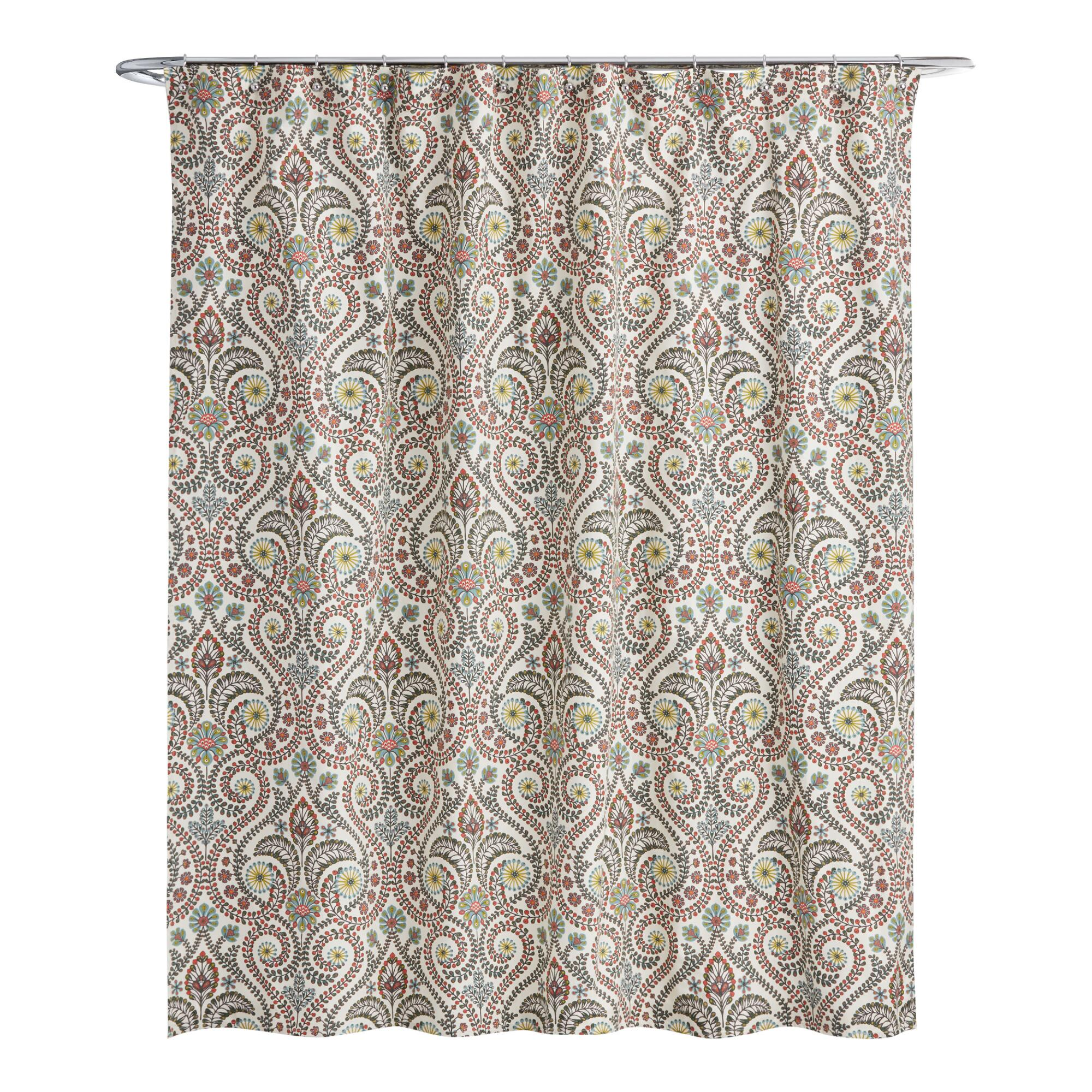 Mint green shower curtain and rugs - Treetop Shower Curtain