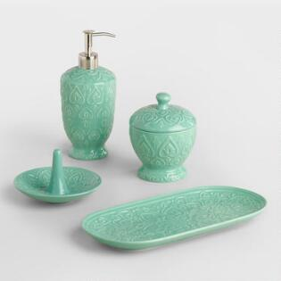 Sea Blue Embossed Ceramic Bath Accessories Collection. Bath Accessories   Sponges  Bath Trays  Soap Dish   World Market