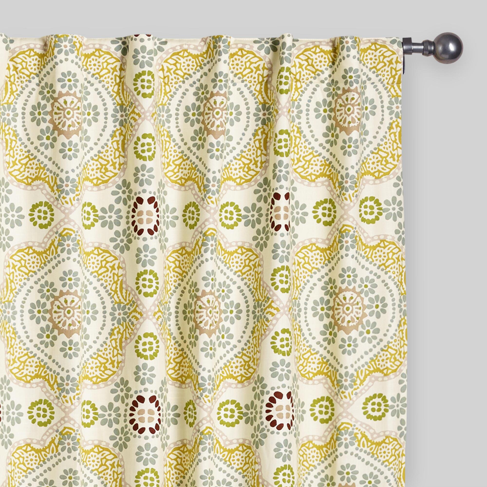 Boho window curtains - Multicolor Mosaic Concealed Tab Top Curtains Set Of 2