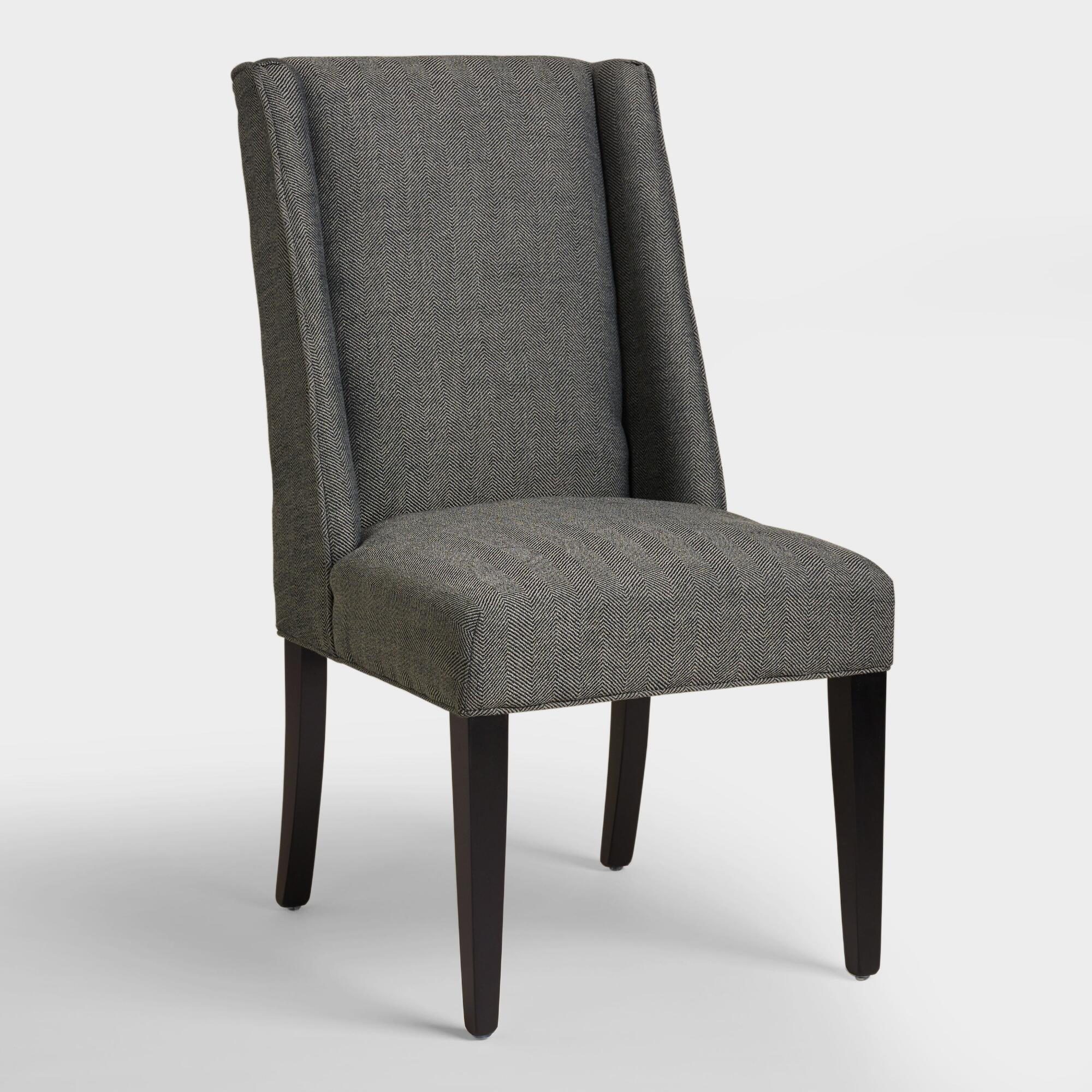Black upholstered dining chairs - Charcoal Herringbone Lawford Dining Chairs