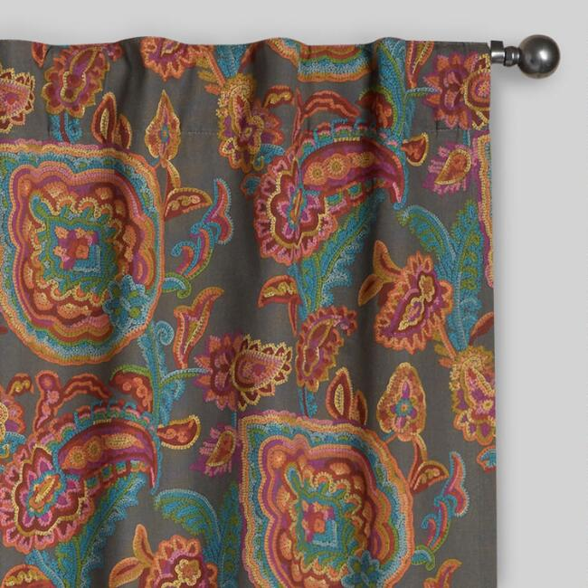 Paisley Confetti Cotton Concealed Tab Top Curtains, Set of 2 ...