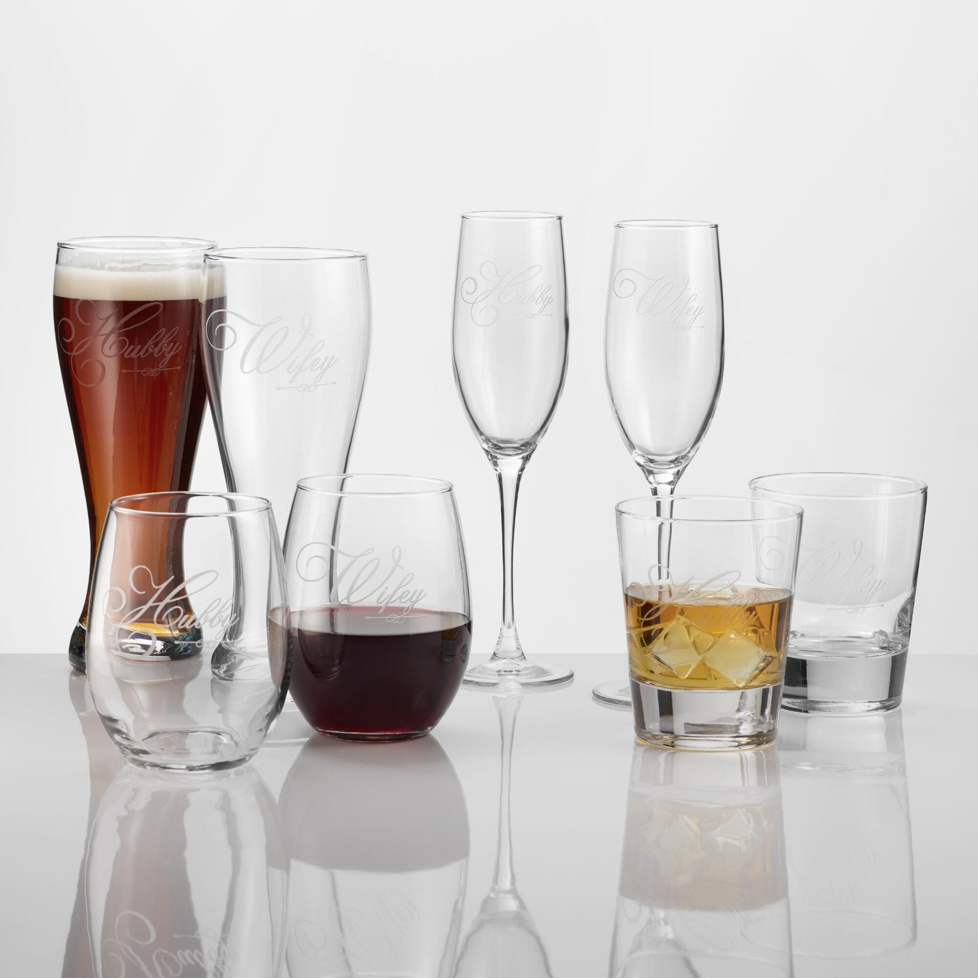 Click here for Hubby & Wifey Etched Glassware  Set of 2 - Stemles... prices