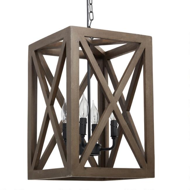 Gray Wood and Iron Valencia Chandelier – Wood Chandelier Lighting