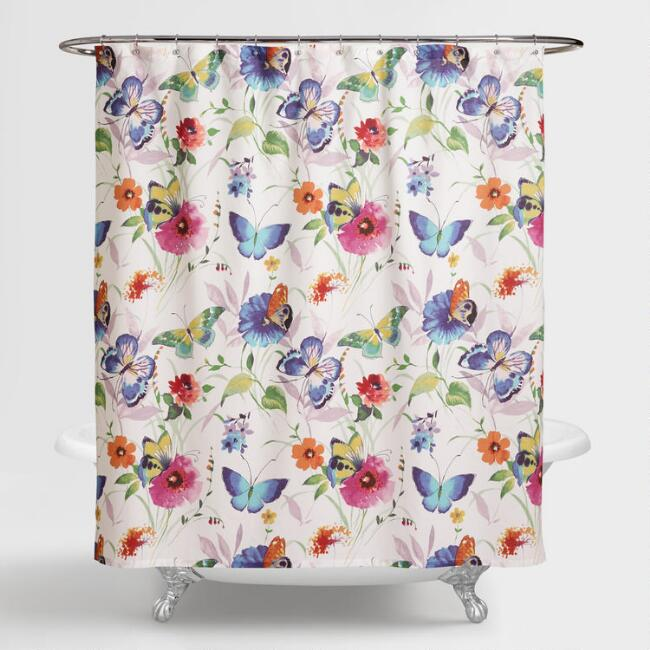 Curtains Ideas butterfly shower curtain : Butterfly Watercolor Floral Shower Curtain | World Market