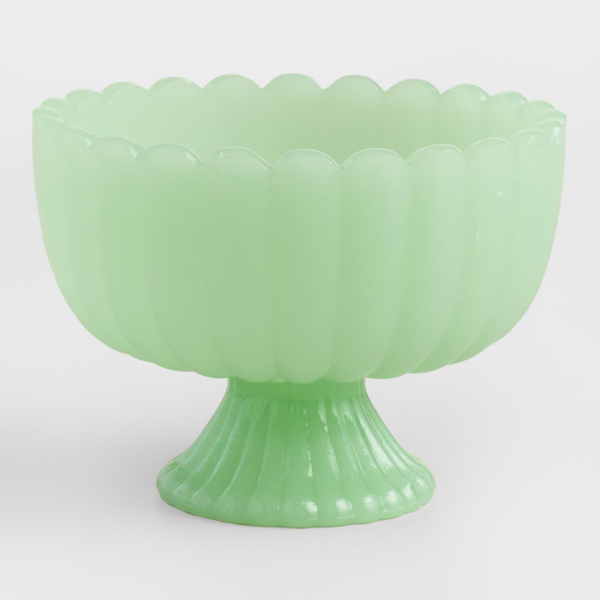 Jade Green Glass Footed Bowls Set of 6 by World Market