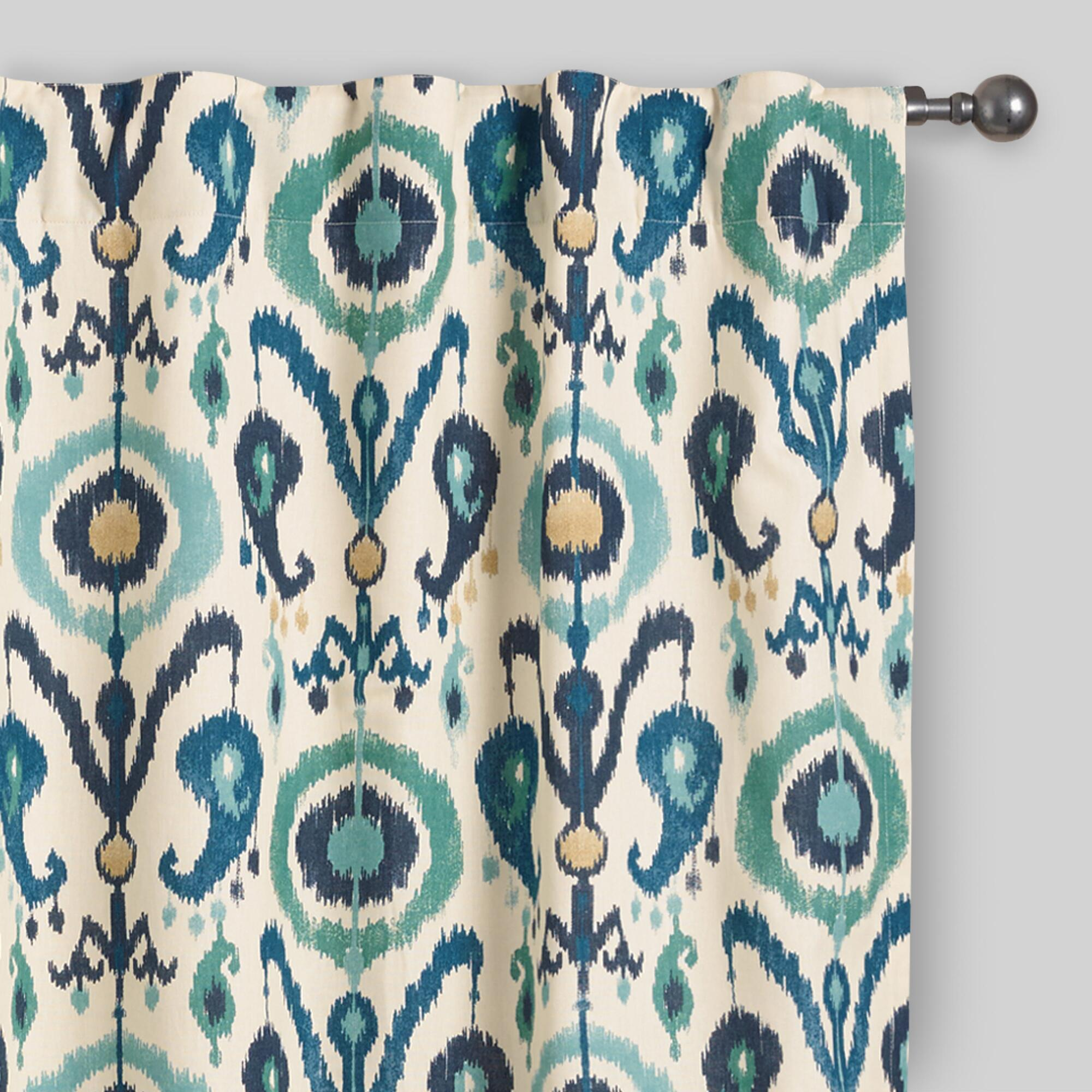 Moroccan tile pattern curtains - Indigo Ikat Concealed Tab Top Curtains Set Of 2