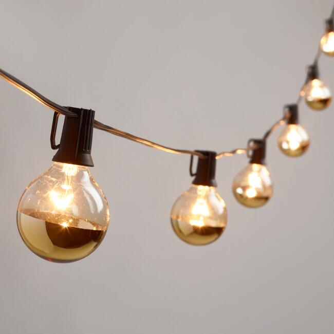 Gold Dipped Glass Orb 20 Bulb String Lights World Market