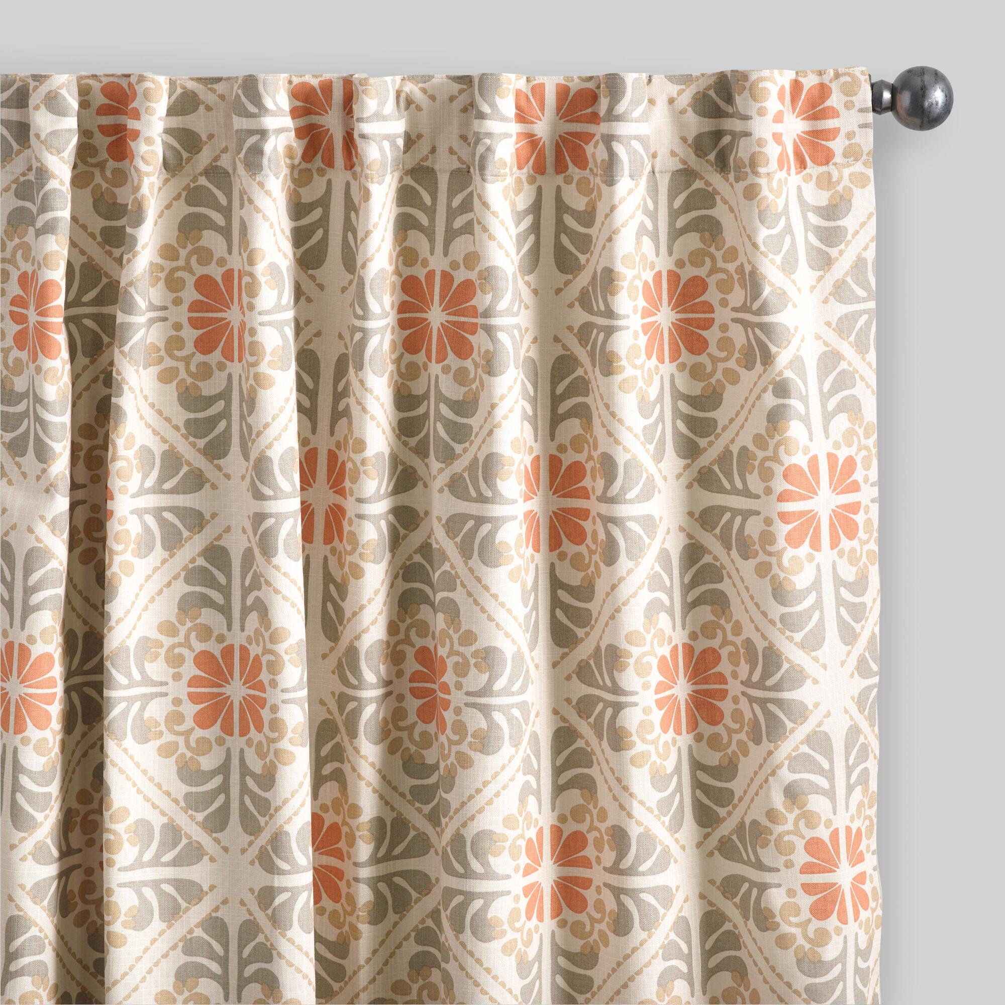 Cafe curtains for bathroom - Orange Tile Cotton Concealed Tab Top Curtains Set Of 2