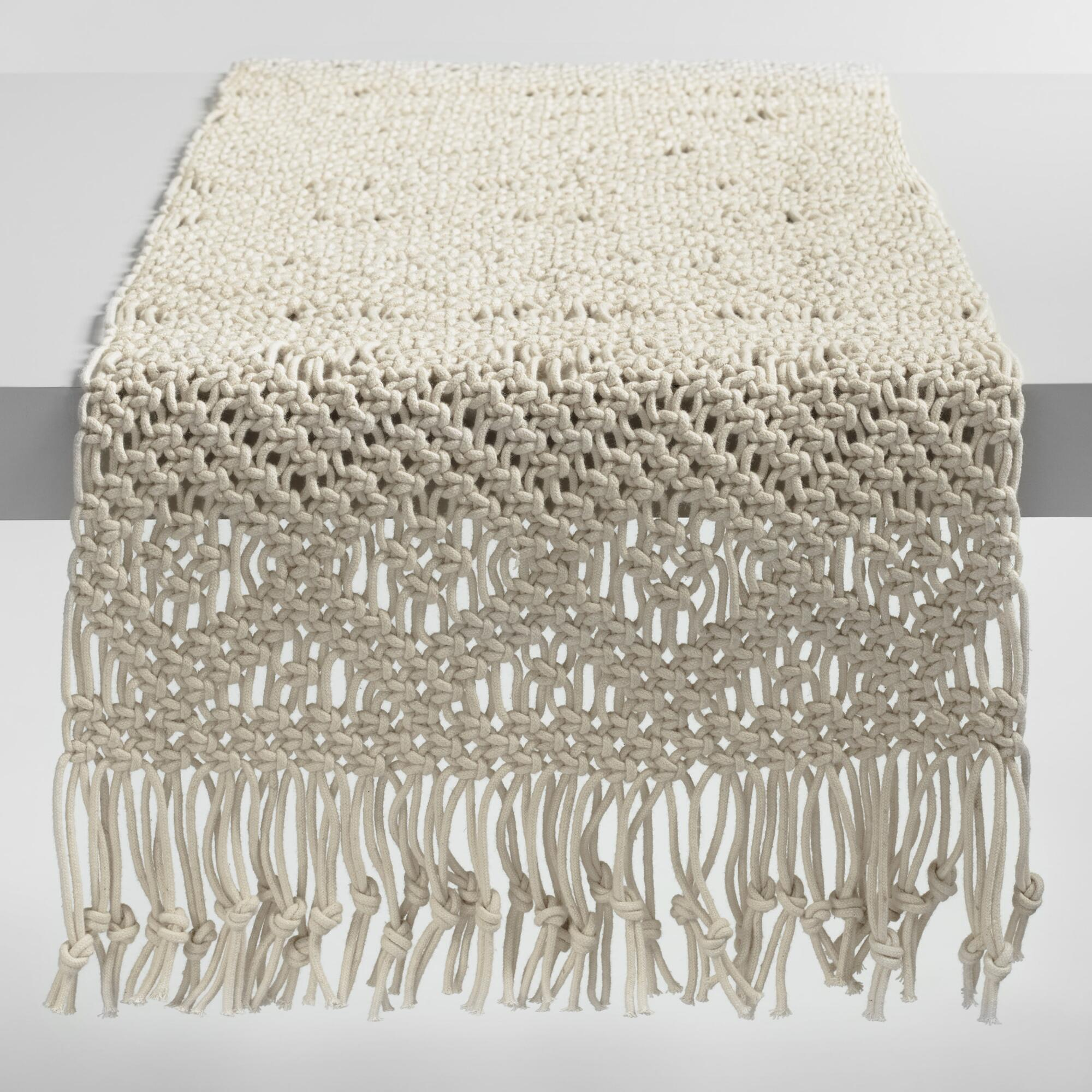 Natural Macrame Table Runner: White - Cotton by World Market