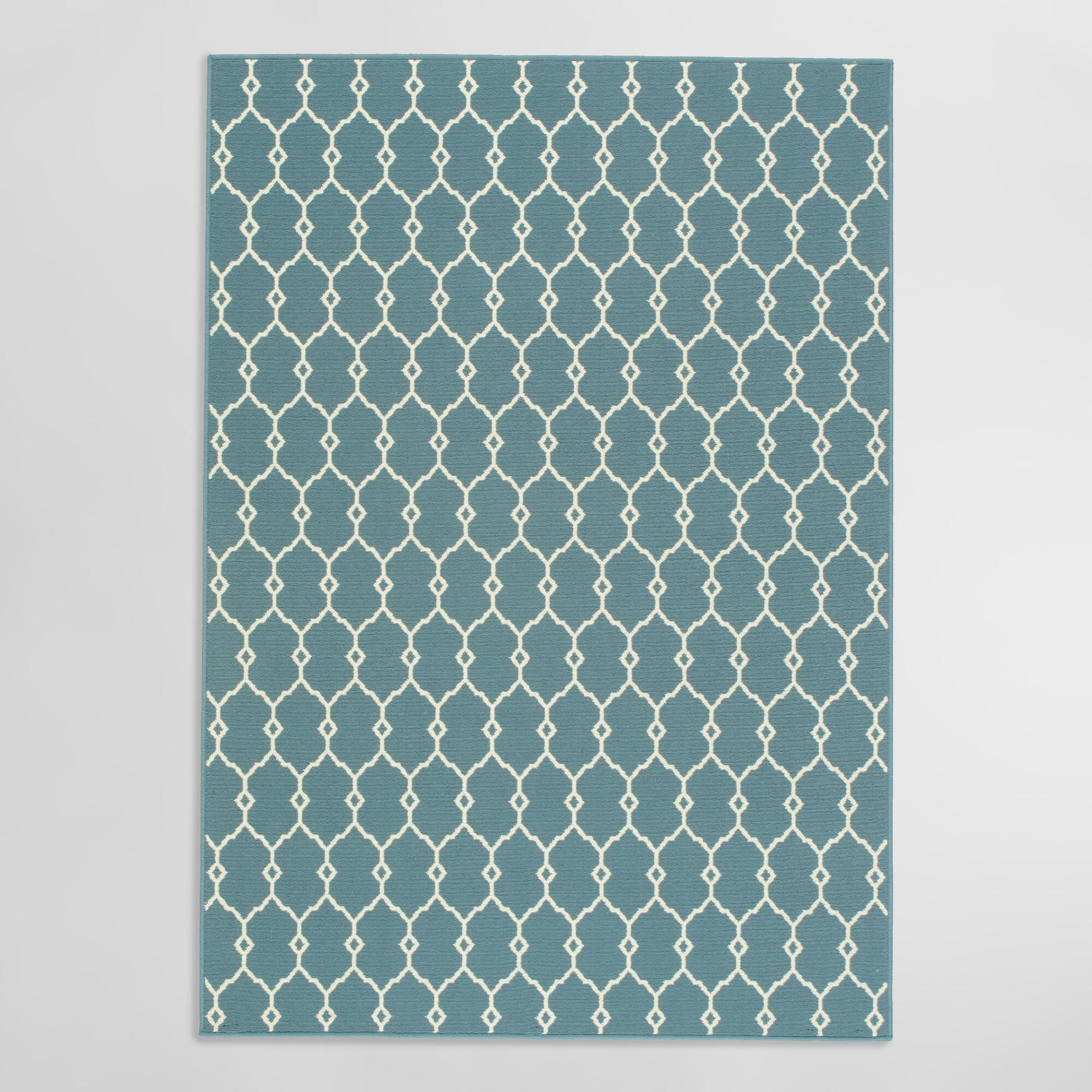Blue Lace Indoor Outdoor Patio Area Rug - 2.3Ftx4.6Ft by World Market 2.3Ftx4.6Ft