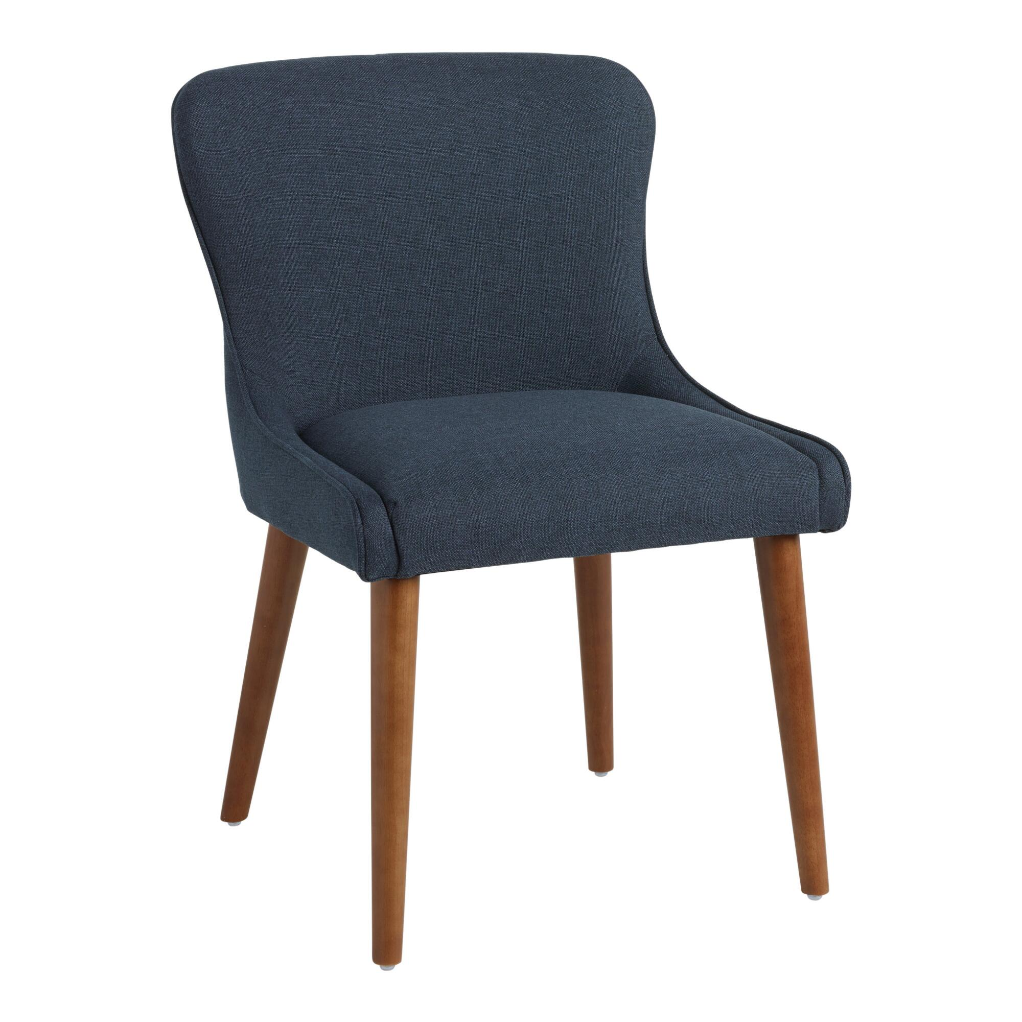 Black upholstered dining chairs - Navy Zarah Petite Wingback Upholstered Chairs Set Of 2