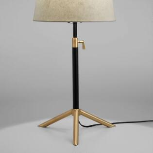 Floor Lamp Bases Only: Black and Brass Telescoping Table Lamp Base,Lighting