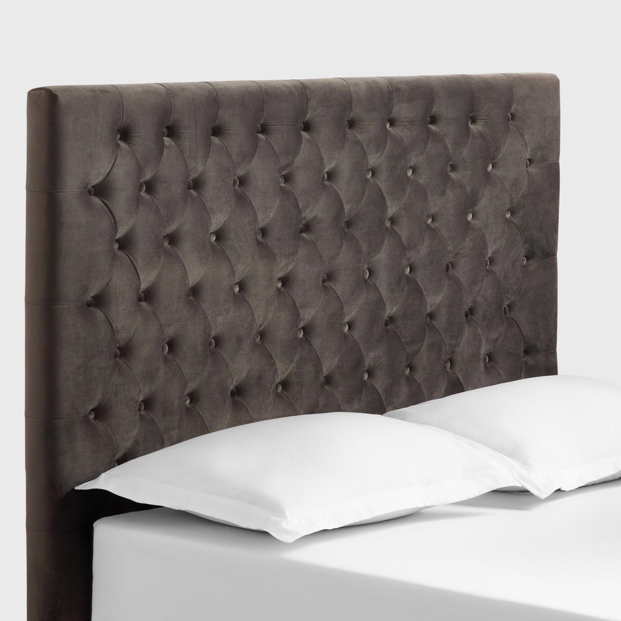 Charcoal Gray Jaelyn Tufted Queen Headboard by World Market