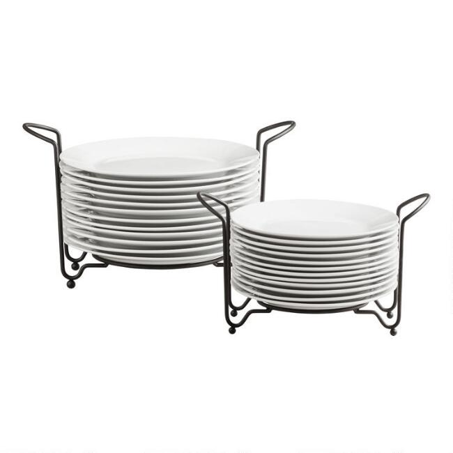Porcelain plates sets with space saving racks world market - Dish rack for small space collection ...